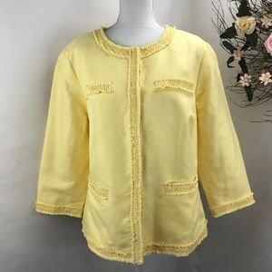 Talbots ruffled trim yellow blazer linen blend 18W